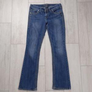 "Silver jeans. Suki 17"" surplus."